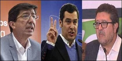 Andalucía: Juan Marín (Cs), Juanma Moreno (PP) y Francisco Serrano (Vox).