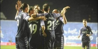 Celebración del gol de Antoñito