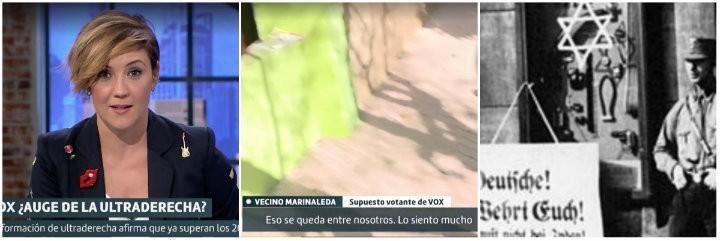Cristina Pardo; reportaje señalando a los votantes de VOX en Marinaleda; y judíos marcados en la Alemania nazi.