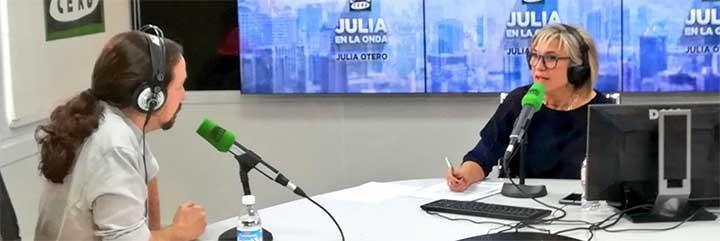 Iglesias, que parece que no tiene reloj, y Julia Otero, en la entrevista en ONDA CERO.