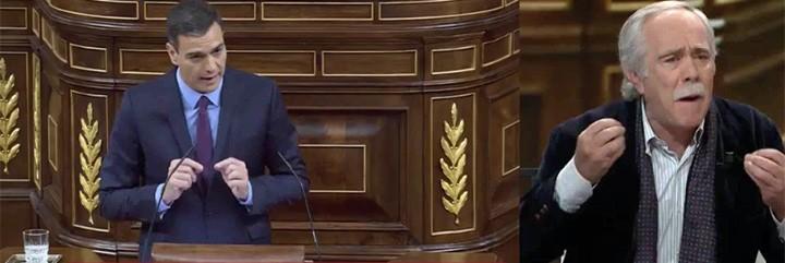 Pedro Sánchez contando sus trolas y Pérez Henares a punto de estallar.