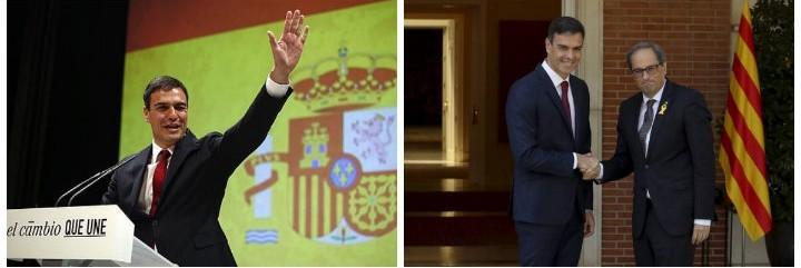 Pedro Sánchez en su dualidad: un día es español, otro día amigo del golpismo.