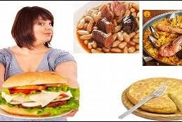 Dieta, calorías, hamburguesa y comida tradicional: fabada, paella y tortilla de patatas.
