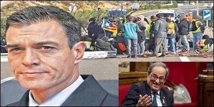 Pedro Sánchez (PSOE) intenta pactar con Quim Torra y sus violentos CDR.