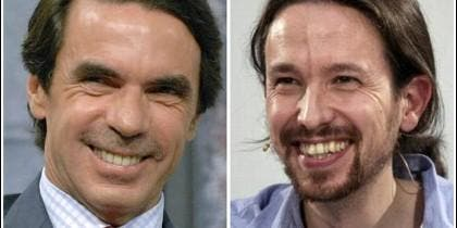 José María Aznar y Pablo Iglesias, de risas.