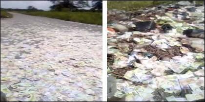 El cementerio de billetes hallado en Venezuela.