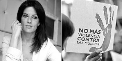 Cristina Seguí y una cartela del 8-M.