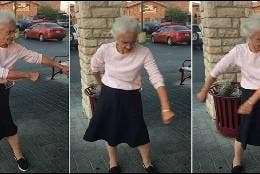 Anciana bailando