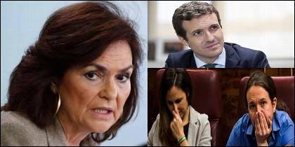 Carmen Calvo (PSOE), Pablo Casado (PP) e Ione Belarra y Pablo Iglesias (PODEMOS).