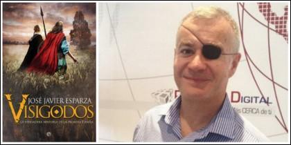 José Javier Esparza y la portada de su último libro, 'Visigodos: La verdadera historia de la primera España'.