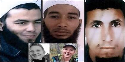 La danesa Louisa Vesterager Jespersen, su amiga noruega, Maren Ueland, y tres de sus asesinos islámicos.
