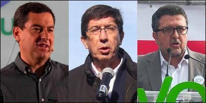 Moreno Bonilla (PP), Marín (Cs) y Serrano (VOX).