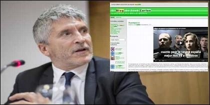 El ministro Grande-Marlaska y el blog del comisario José Carlos Castillo, donde disfrazaba a Rajoy de Hitler.