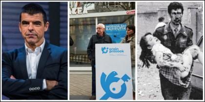 Manuel Marlasca, la celda puesta por proetarras en Pamplona y una imagen de la masacre terrorista.