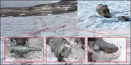 Un cadáver aparece en el glaciar suizo, como consecuencia del deshielo.
