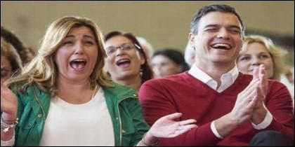 Susana Díaz y Pedro Sanchez, en la campaña del PSOE en las elecciones andaluzas de 2018.