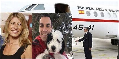 Begoña Gómez, Pedro Sánchez con su perra y el avión Falcón oficial.