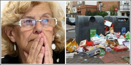 Manuela Carmena y un contenedor de basura