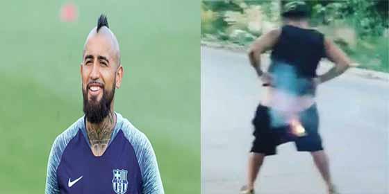 El peligroso festejo de Arturo Vidal