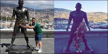 El atrevido comportamiento de los turistas ante la estatua de Cristiano Ronaldo.
