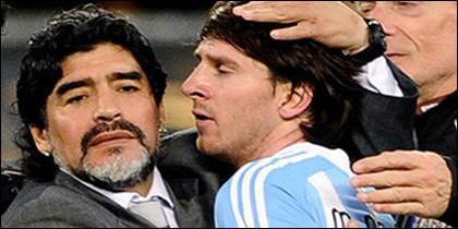 Maradona y Messi.