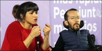 Teresa Rodríguez y Pablo Echenique (PODEMOS).