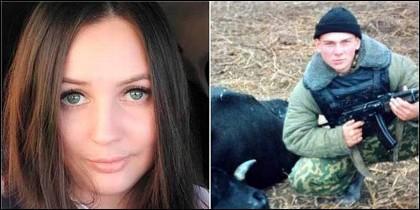 La víctima, Irina Akhmatova y su asesino, Vitaly Chikirev.