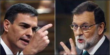 Pedro Sánchez (PSOE) y Mariano Rajoy (PP).