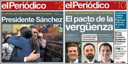 Tres portadas de El Periódico de Cataluña: en las de 15 de mayo y 2 de junio de 2018 jalea el pacto de perdedores y en la del 10 de enero de 2019 lo tilda de vergüenza.