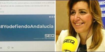Captura del tuit de Radio Sevilla y Susana Díaz, durante una entrevista en la SER.