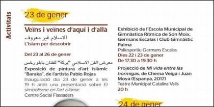 Un fragmento del programa de las fiestas patronales de Palma (2019).