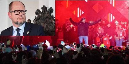 Pawel Adamowicz, el alcalde de la ciudad polaca de Gdansk, y Stefan W. su asesino, dirigiéndose al público tras asesinarlo.