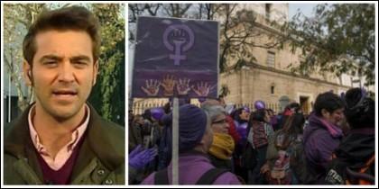 Javier Negre y la 'multitudinaria' protesta feminista.