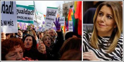 Susana Díaz disfrutando de la manifestación contra el cambio de poder en Andalucía.