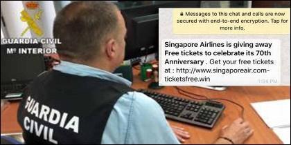 La Guardia Civil alerta sobre las estafas online.