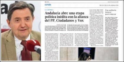 Federico Jiménez Losantos y la página de muy interior a la que El País llevó el cambio en Andalucía.