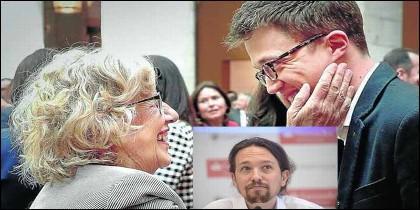 Manuela Carmena, Pablo Iglesias e Iñigo Errejón.