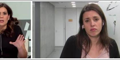 María Llapart entrevistando a una resentida Irene Montero.