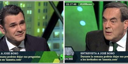 Iñaki López entrevistando a José Bono en laSexta Noche el 19-01-2019.