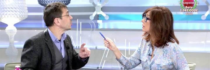 Juan Carlos Monedero peleándose con Ana Rosa, que no le pasa ni una.