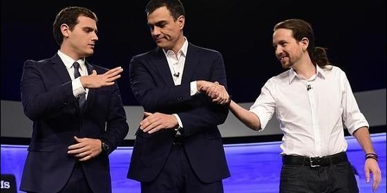 Albert Rivera, Pedro Sánchez y Pablo Iglesias, en su primer debate electoral.