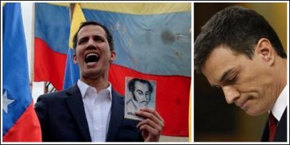 Juan Guaidó enfrentándose a la dictadura chavista mientras en España Sánchez calla como un muerto.