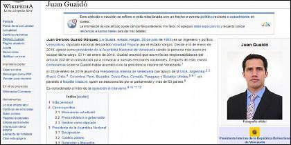 Wikipedia y Juan Guaidó