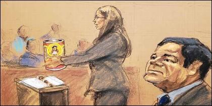 """Joaquín """"El Chapo"""" Guzmán Loera, en el tribunal."""