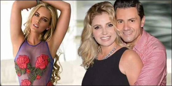 La modelo Tania Ruiz Eichelmann y Angélica Rivera con su marido Enrique Peña Nieto.