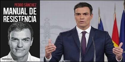 Pedro Sánchez (PSOE) y el libro 'Manual de Resistencia'.