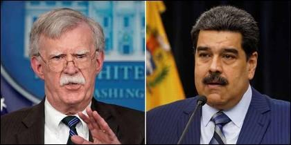 John Bolton (EEUU) y Nicolas Maduro (VENEZUELA).