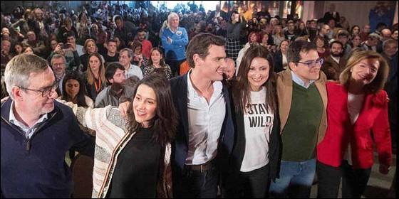 El presidente de Ciudadanos, Albert Rivera, y la líder del partido en Cataluña, Inés Arrimadas, protagonizan un acto de CS en Barcelona.
