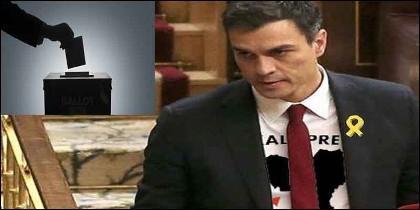 El socialista Pedro Sánchez y sus aliados independentistas y proetarras.