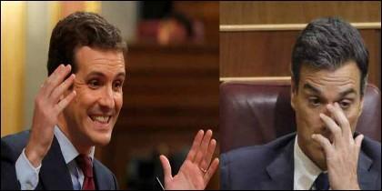 Pablo Casado (PP) y Pedro Sánchez (PSOE).